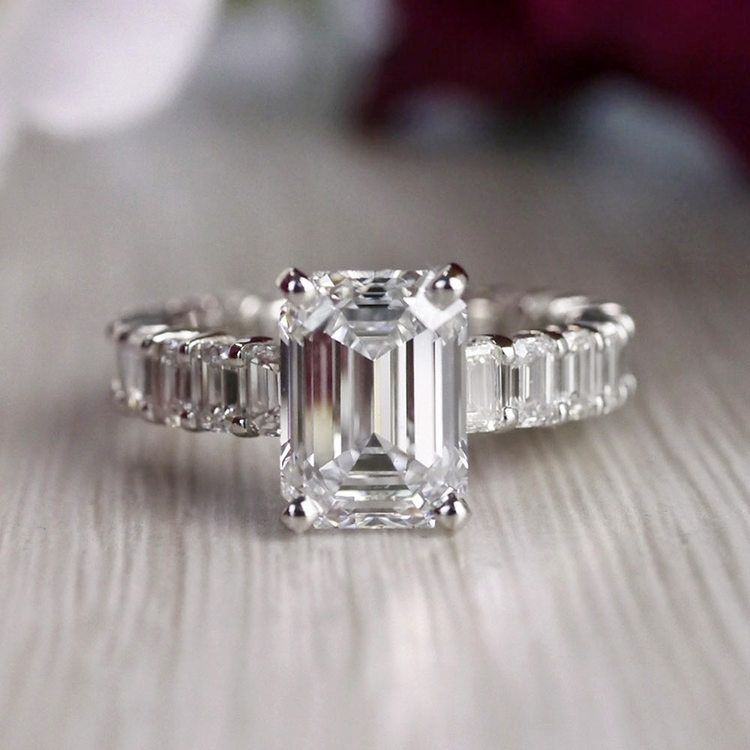 Excellent Eternity Inspired Emerald Cut Diamond Ring  angle 5