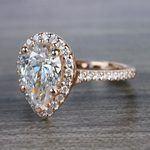 Radiating Rose Gold Pear Cut 2 Carat Diamond Ring - small angle 2