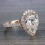 Radiating Rose Gold Pear Cut 2 Carat Diamond Ring - small angle 3