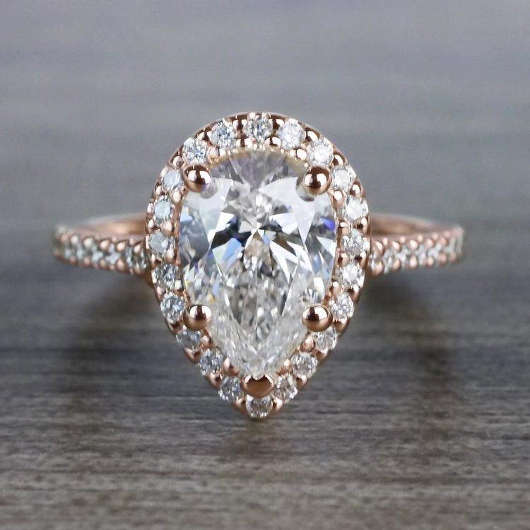 Radiating Rose Gold Pear Cut 2 Carat Diamond Ring
