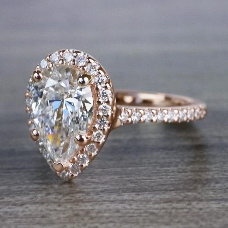 Radiating Rose Gold Pear Cut 2 Carat Diamond Ring angle 2