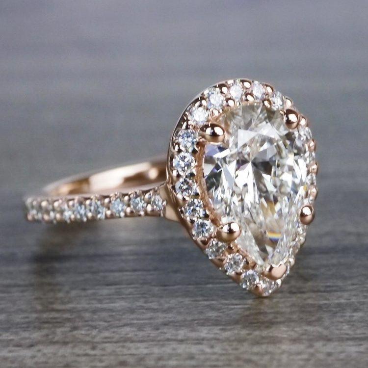 Radiating Rose Gold Pear Cut 2 Carat Diamond Ring angle 3