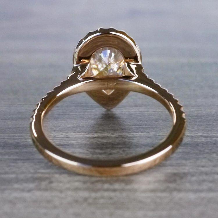 Radiating Rose Gold Pear Cut 2 Carat Diamond Ring angle 4