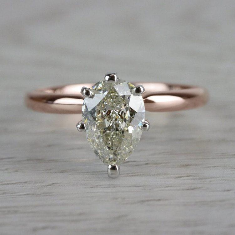 Ravishing Rose Gold Pear Cut 1 Carat Diamond Ring