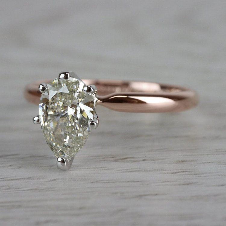 Ravishing Rose Gold Pear Cut 1 Carat Diamond Ring angle 2