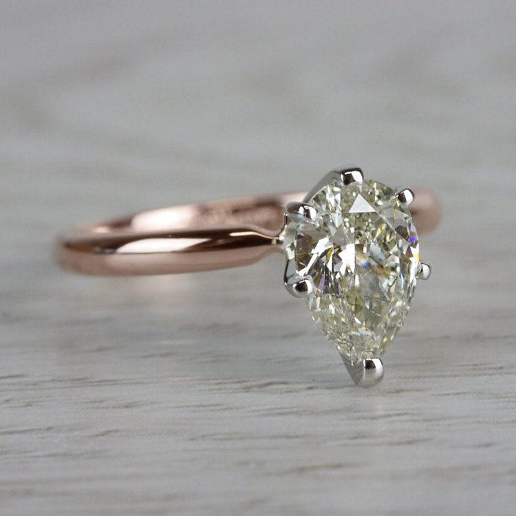 Ravishing Rose Gold Pear Cut 1 Carat Diamond Ring angle 3
