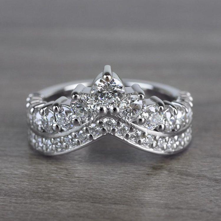 Regal Diamond Tiara Engagement Crown Ring