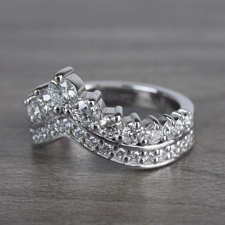 Regal Diamond Tiara Engagement Crown Ring angle 2