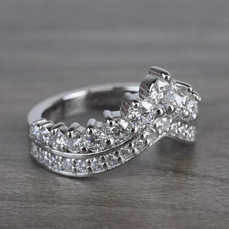 Regal Diamond Tiara Engagement Crown Ring angle 3