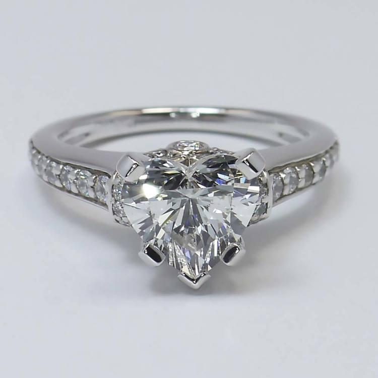 2 Carat Ribbon Surprise Heart Diamond Engagement Ring