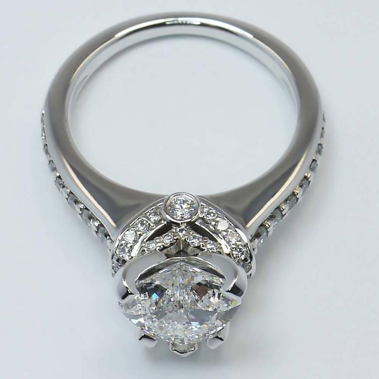 2 Carat Ribbon Surprise Heart Diamond Engagement Ring angle 2