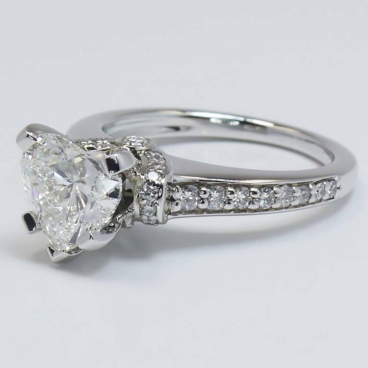 2 Carat Ribbon Surprise Heart Diamond Engagement Ring angle 3