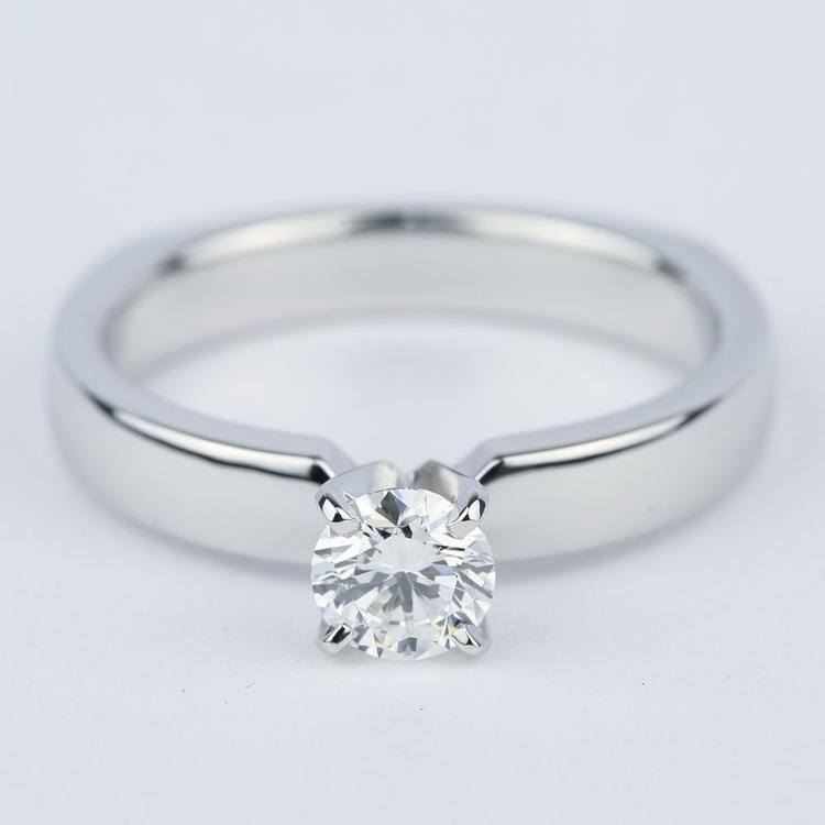 Rocker-Style Diamond Solitaire Engagement Ring (1/2 Carat)