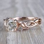 Floral Style Three Stone Engagement Ring In Rose Gold - small angle 2
