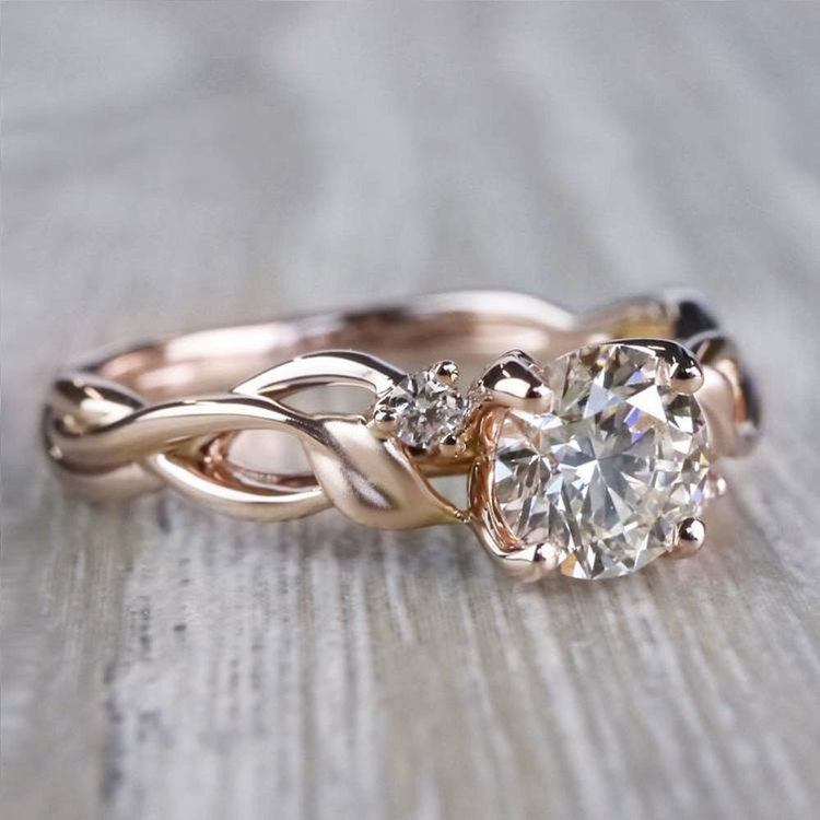 Floral Style Three Stone Engagement Ring In Rose Gold angle 3