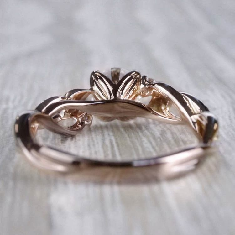 Floral Style Three Stone Engagement Ring In Rose Gold angle 4