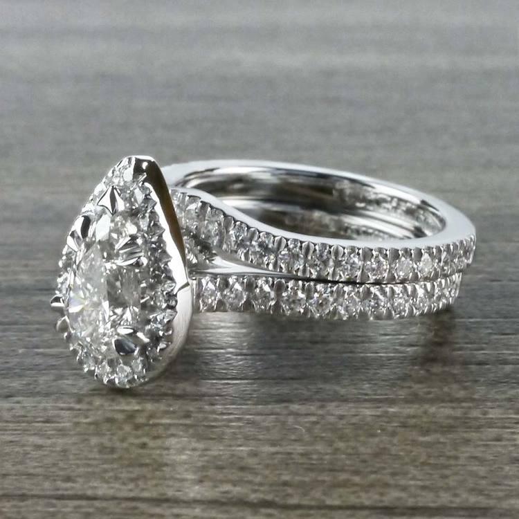 Petite 1 Carat Pear Halo Diamond Engagement Ring angle 2