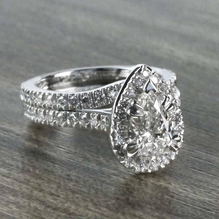 Petite 1 Carat Pear Halo Diamond Engagement Ring angle 3