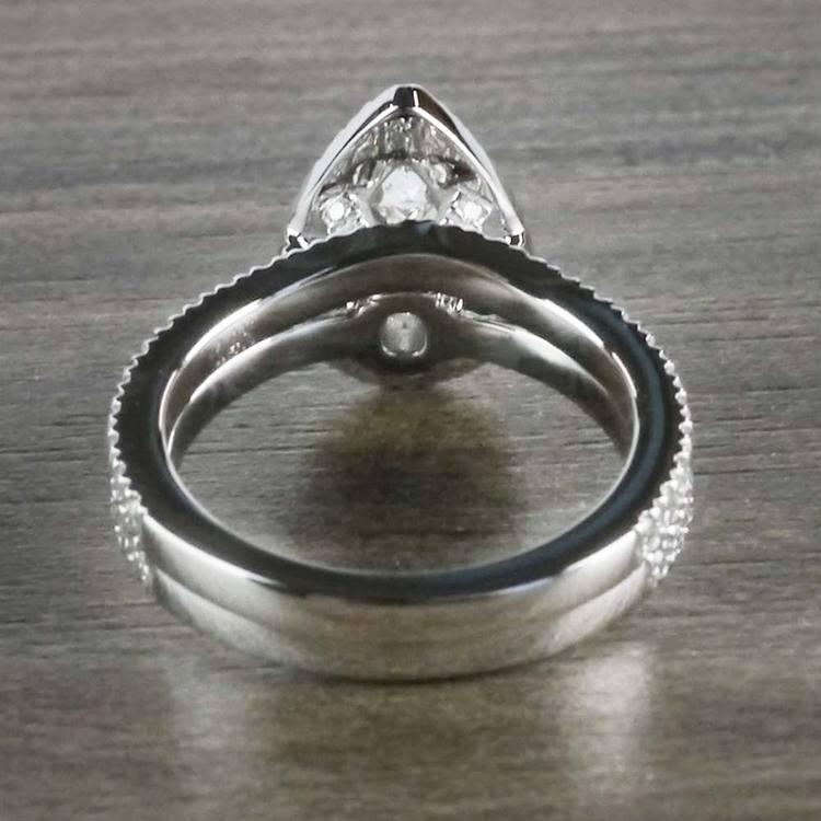 Petite 1 Carat Pear Halo Diamond Engagement Ring angle 4