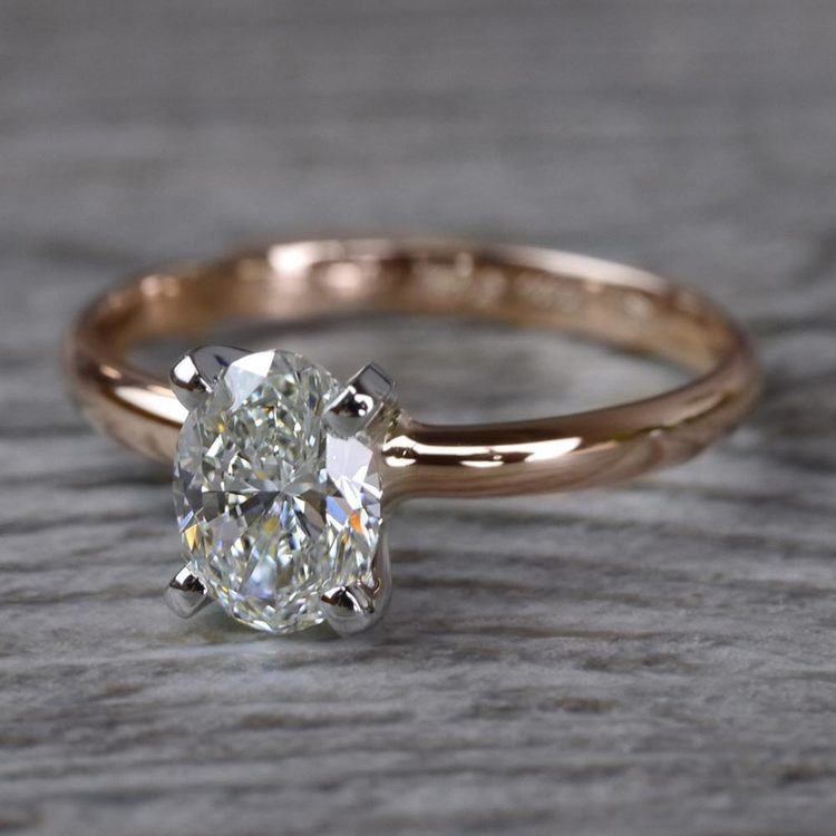 Romantic Rose Gold Oval Diamond Engagement Ring angle 2