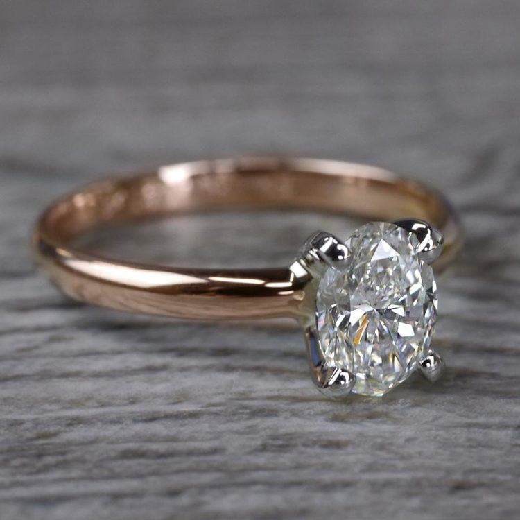Romantic Rose Gold Oval Diamond Engagement Ring angle 3