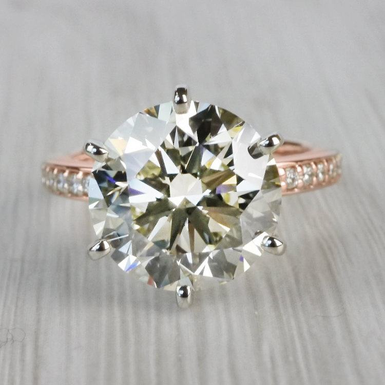 Romantic Rose Gold Pave Band 6 Carat Diamond Ring
