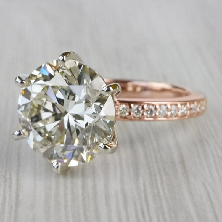 Romantic Rose Gold Pave Band 6 Carat Diamond Ring angle 2