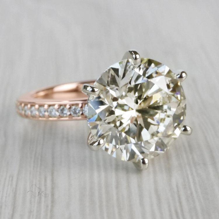 Romantic Rose Gold Pave Band 6 Carat Diamond Ring angle 3