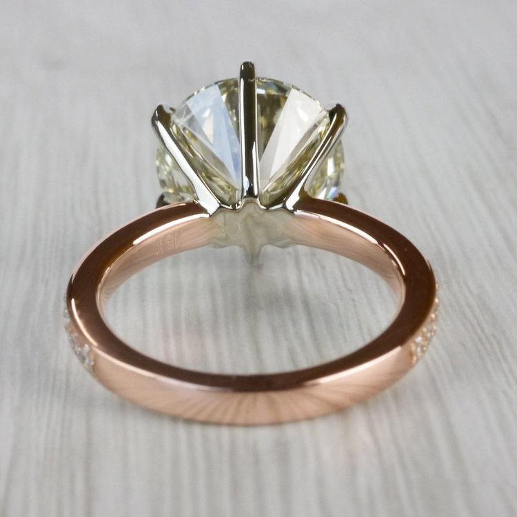 Romantic Rose Gold Pave Band 6 Carat Diamond Ring angle 4