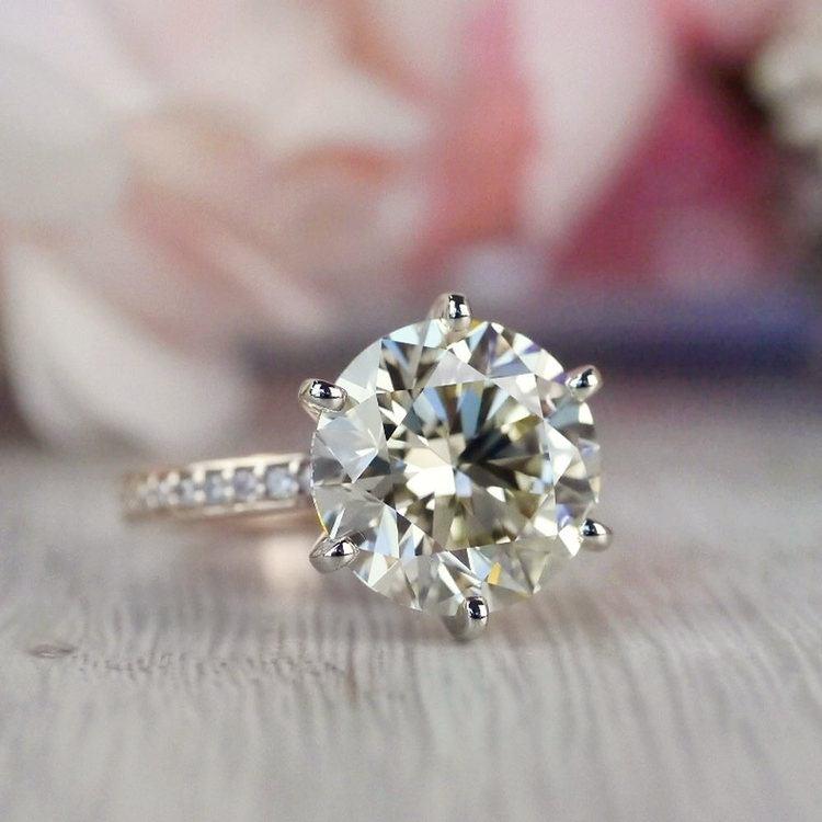 Romantic Rose Gold Pave Band 6 Carat Diamond Ring angle 5