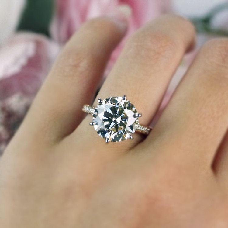 Romantic Rose Gold Pave Band 6 Carat Diamond Ring   06