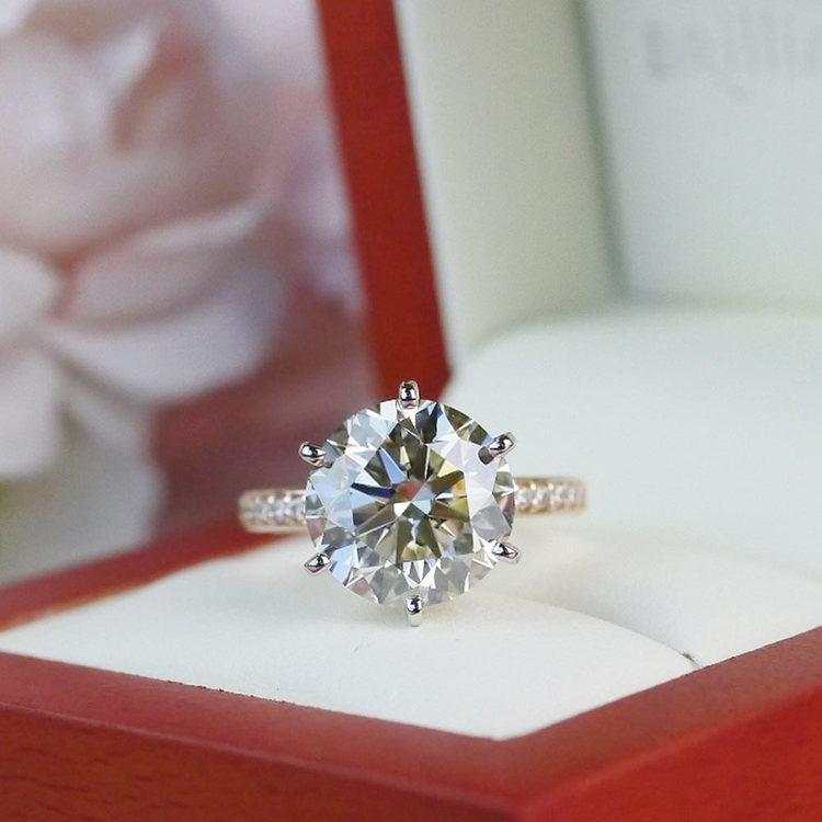 Romantic Rose Gold Pave Band 6 Carat Diamond Ring   07