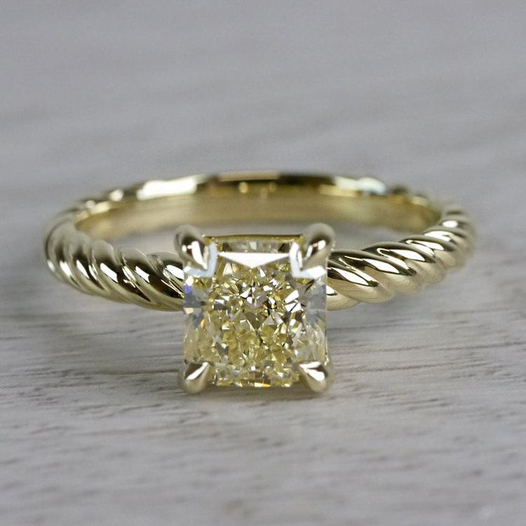 Rope Twist Fancy Yellow Diamond Solitaire Engagement Ring