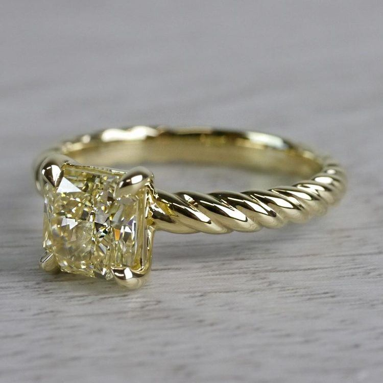 Rope Twist Fancy Yellow Diamond Solitaire Engagement Ring angle 2