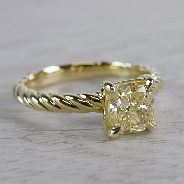 Rope Twist Fancy Yellow Diamond Solitaire Engagement Ring angle 3