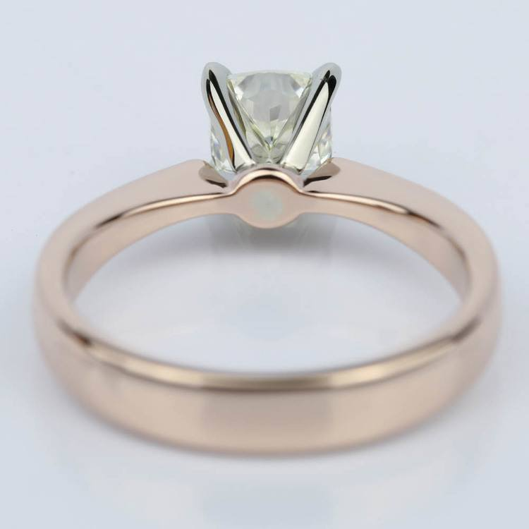 Rose Gold Flat Taper Solitaire 1.02 Vintage Cushion Diamond Engagement Ring angle 4