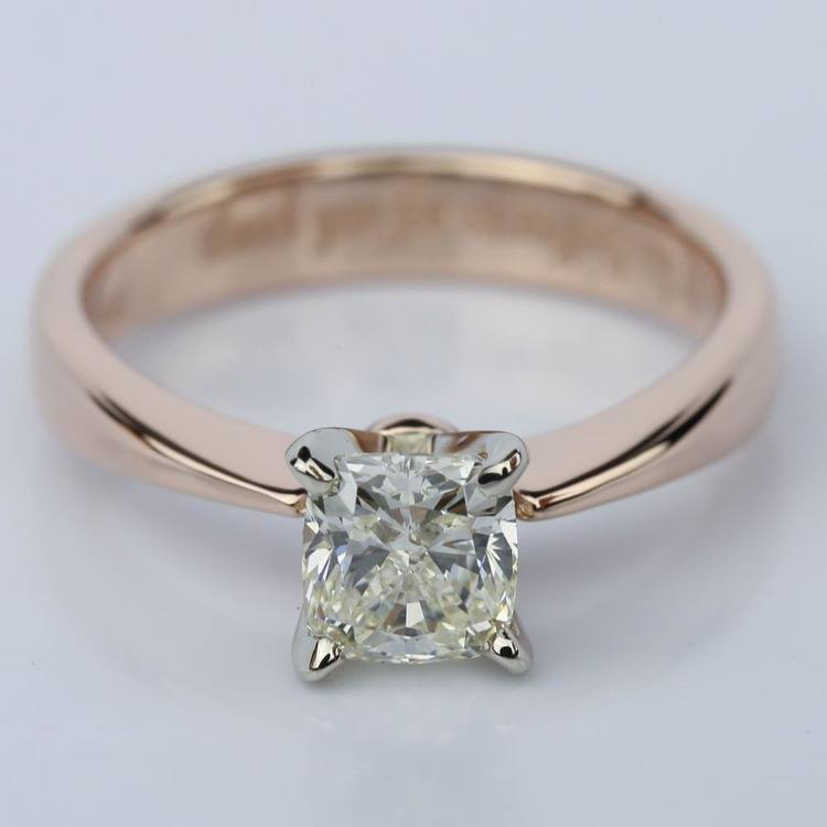 Rose Gold Flat Taper Solitaire 1.02 Vintage Cushion Diamond Engagement Ring