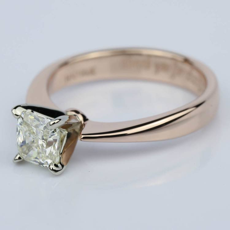 Rose Gold Flat Taper Solitaire 1.02 Vintage Cushion Diamond Engagement Ring angle 2