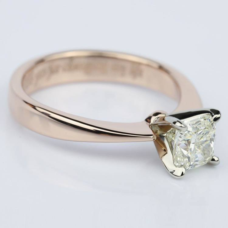 Rose Gold Flat Taper Solitaire 1.02 Vintage Cushion Diamond Engagement Ring angle 3