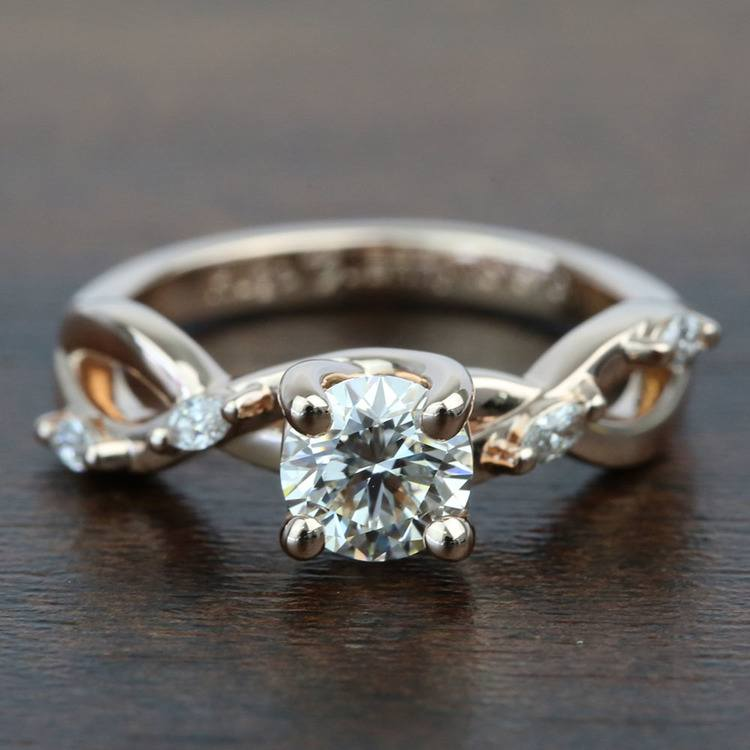 Rose Gold Florida Ivy 0.75 Carat Round Diamond Engagement Ring