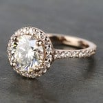 Custom Rose Gold Diamond Eternity Halo Engagement Ring - small angle 2