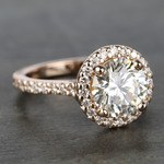 Custom Rose Gold Diamond Eternity Halo Engagement Ring - small angle 3