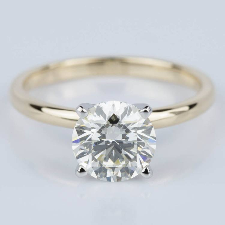 Round Brilliant Diamond Engagement Ring in Yellow Gold (1.71 ct.)