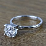 Round Classic Solitaire Diamond Engagement Ring (1 Carat) - small angle 2