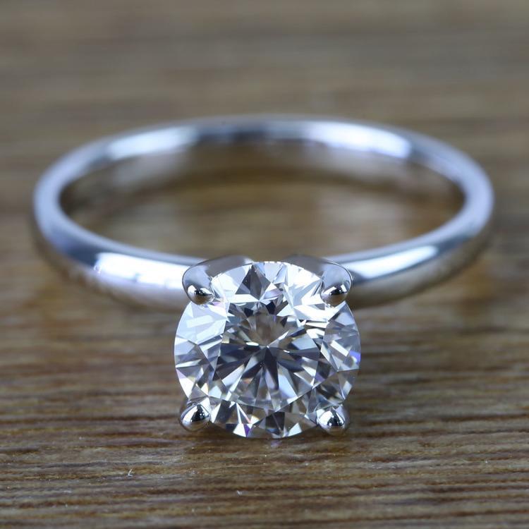 Round Classic Solitaire Diamond Engagement Ring (1 Carat)