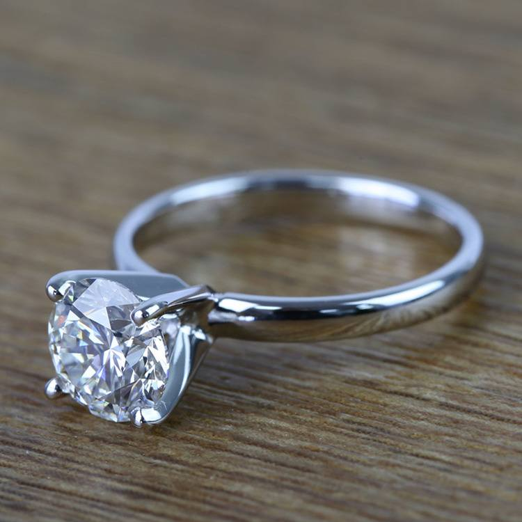 Round Classic Solitaire Diamond Engagement Ring (1 Carat) angle 2