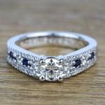 Round Custom Diamond & Sapphire Engagement Ring (0.59 Carat) - small