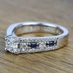 Round Custom Diamond & Sapphire Engagement Ring (0.59 Carat) - small angle 2
