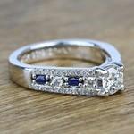 Round Custom Diamond & Sapphire Engagement Ring (0.59 Carat) - small angle 3