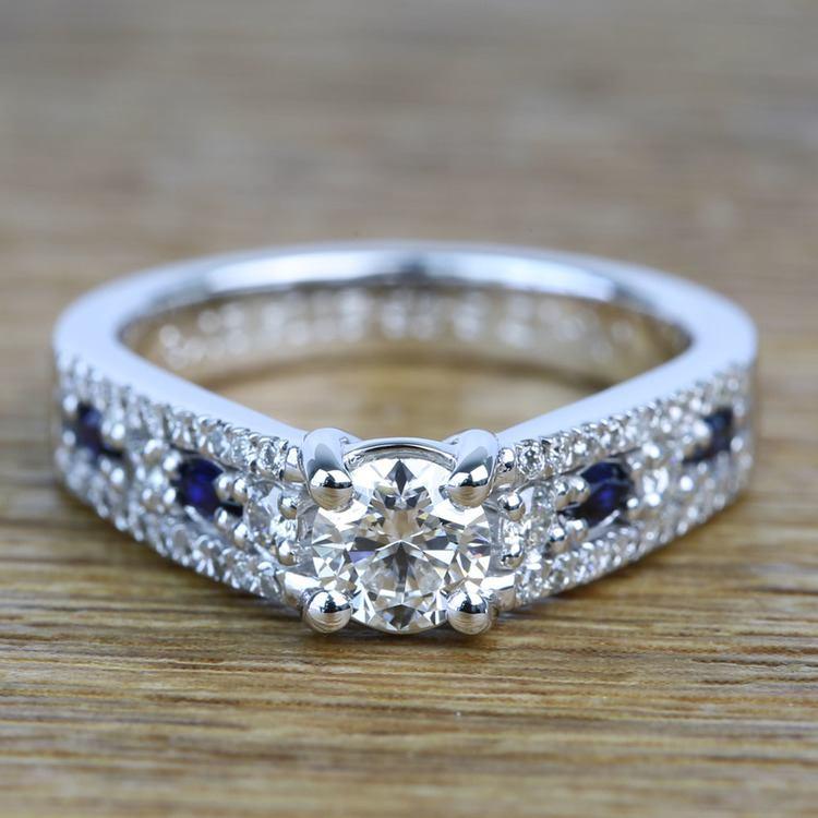 Round Custom Diamond & Sapphire Engagement Ring (0.59 Carat)
